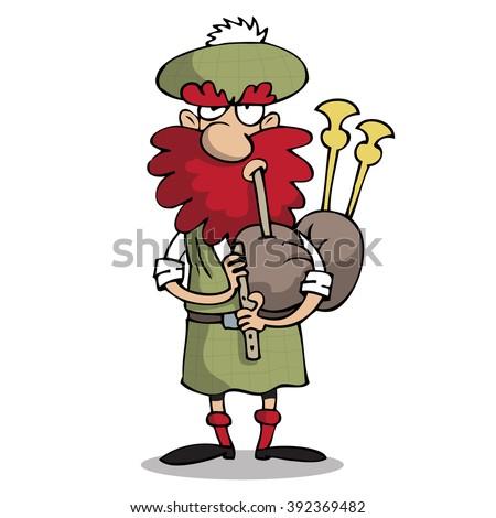 Scotsman singing the bagpipe - stock vector
