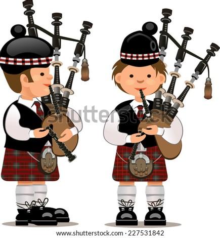Scottish bagpiper - stock vector