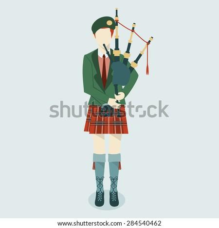 Scottish Bagpiper in uniform flat icon. Scottish tradition. - stock vector