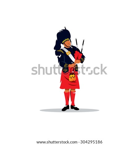 Scottish Piper in traditional Clothing sign. Man in a Scottish kilt. Vector Illustration. Branding Identity Corporate logo design template Isolated on a white background - stock vector