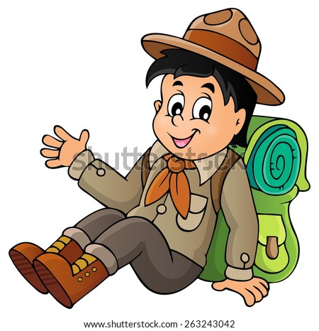Scout boy theme image - eps10 vector illustration.