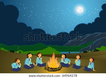 Scout Girls-vector - stock vector