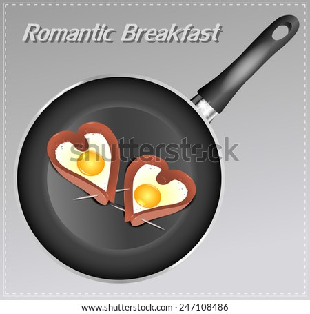 Scrambled eggs with sausage in a heart shape in the pan. Romantic breakfast. - stock vector