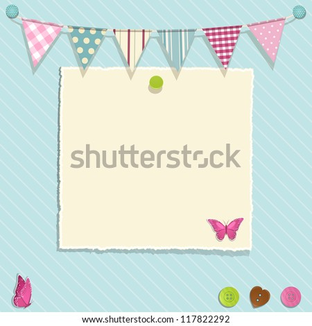 Scrap book background with bunting, torn paper and buttons - stock vector