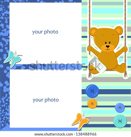 Scrap-booking card - my baby - bear on swing - two photo (vector) - stock vector