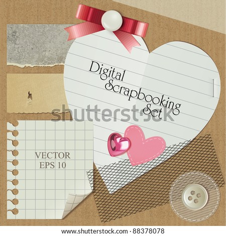 scrap-booking set with realistic romantic elements, vector - stock vector