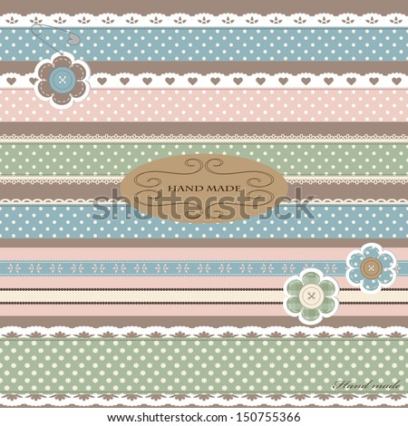 Scrap booking set with straight lace sewn on to the fabric and buttons. Vector illustration.  - stock vector