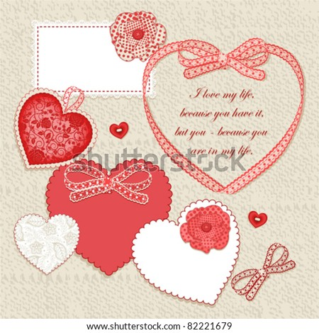 Scrap card, vintage heart design with free space for your text - stock vector