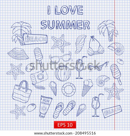 Scrap set I love summer on the notebook sheet