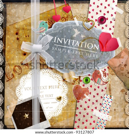 Scrap template of vintage design with blank space for your photo and text - stock vector