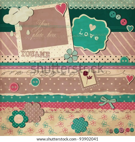 Scrap template of vintage worn distressed design, love card - stock vector