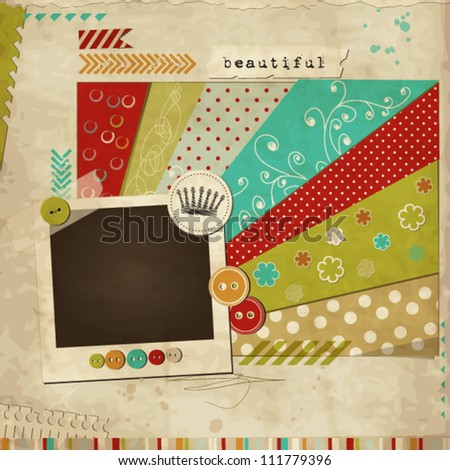 Scrap template of vintage worn distressed design with photo frame - stock vector
