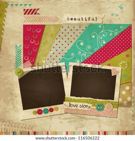 Scrap template of vintage worn distressed design with photo frames and other elements - stock vector