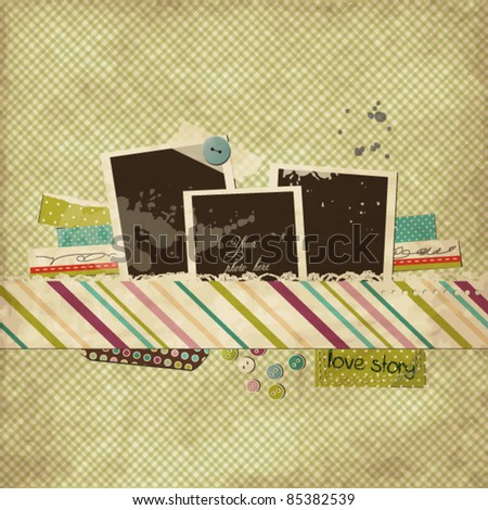 Scrap template with blank space for your photos - stock vector