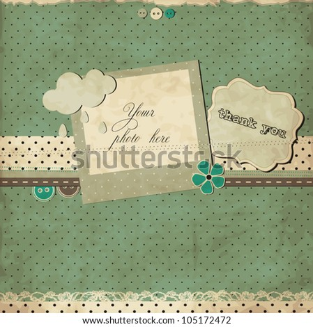 Scrap template with photo frame - stock vector