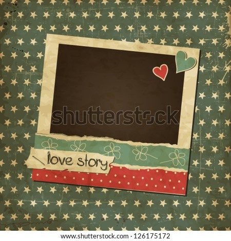 Scrap vintage card with photo frame, St.Valentine's Day photo frame with hearts - stock vector