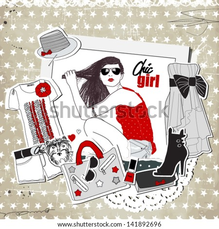 Scrap vintage fashion template with girl and trendy clothes - stock vector