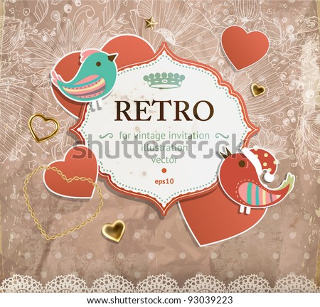 Scrap vintage template with hearts and birds - stock vector