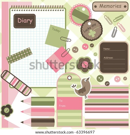 Scrapbook and diary elements, vector - stock vector