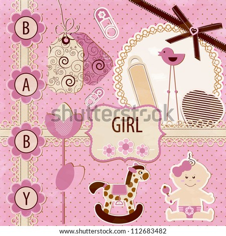 Scrapbook Baby girl Set - stock vector