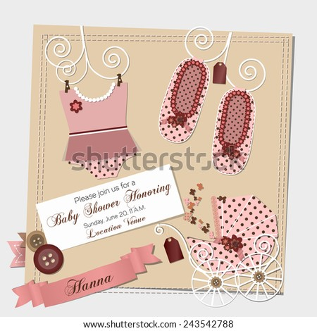 Scrapbook Baby Shower Invitation Template Vector Stock Vector - Pink baby shower invitation templates