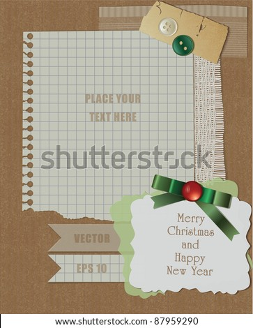 scrapbook christmas design. vector greeting card with green ribbon