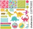 Scrapbook Design Elements - Baby Dinosaur Set - in vector - stock photo