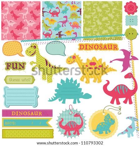 Scrapbook Design Elements - Baby Dinosaur Set - in vector - stock vector