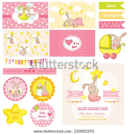 Scrapbook Design Elements - Baby Shower Bunny Theme - in vector - stock vector