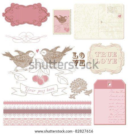 Scrapbook design elements - Birds in love - stock vector
