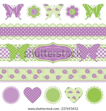 Scrapbook design elements. Bright lavender and green colors. - stock vector
