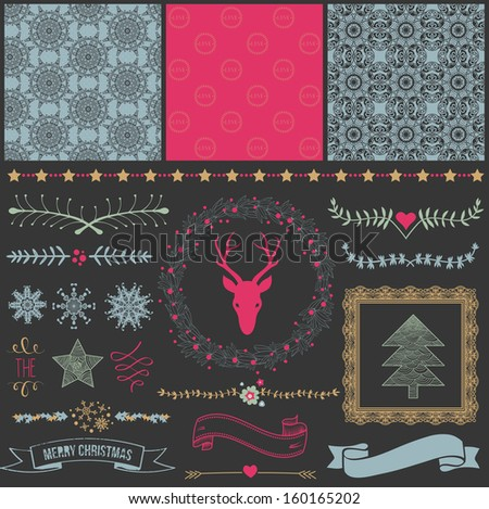 Scrapbook Design Elements: Christmas decorations, frames, ribbon, label, snowflakes, deer  head and set of cute backgrounds. For design or scrap booking. - stock vector
