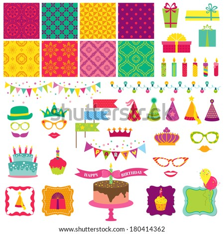 Scrapbook Design Elements - Happy Birthday and Party Set - in vector - stock vector
