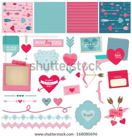 Scrapbook Design Elements - Love, Heart and Valentines - for design or scrapbook - in vector - stock vector