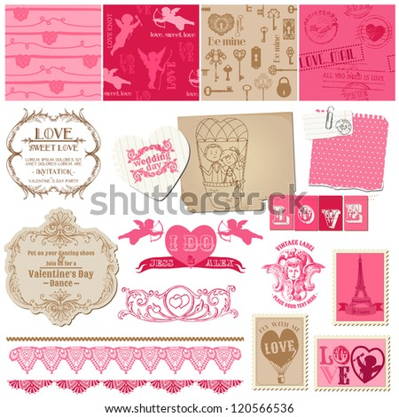 Scrapbook Design Elements - Love Set - for cards, invitation, greetings in vector - stock vector