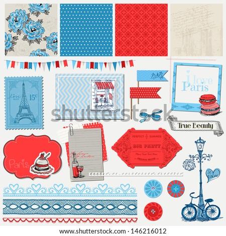 Scrapbook Design Elements - Paris Vintage Set - in vector - stock vector