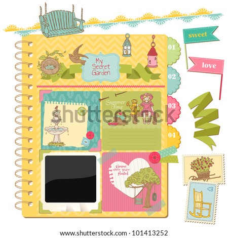 Scrapbook Design Elements - Summer Garden Doodles - in vector