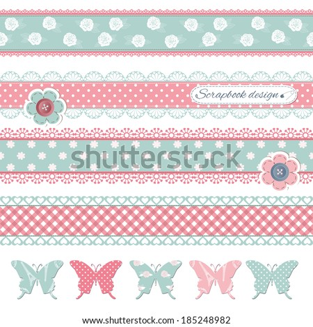 Scrapbook design elements. Textile butterflies with buttons and lace. - stock vector