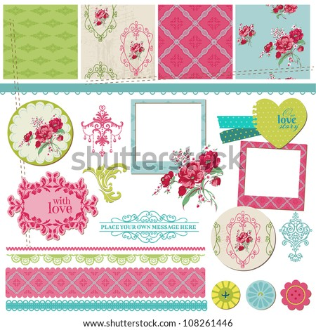 Scrapbook Design Elements - Vintage Flower Card with Photo Frame - in vector - stock vector