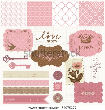 Scrapbook design elements - Vintage Love Set - stock vector