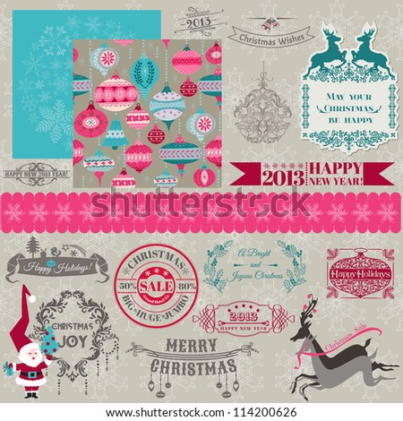 Scrapbook Design Elements - Vintage Merry Christmas and New Year - in vector - stock vector