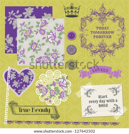 Scrapbook Design Elements - Vintage Violet Roses  - in vector - stock vector