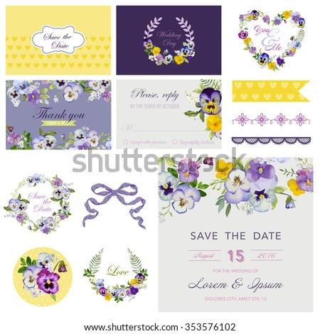Scrapbook Design Elements - Wedding Flower Pansy Theme - in vector - stock vector