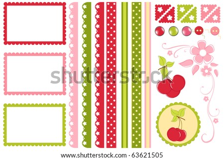 Scrapbook elements. Collection of cherry decors (EPS10) - stock vector