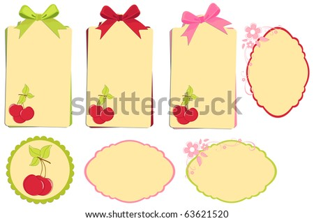 Scrapbook elements. Collection of cherry tags with bows (EPS10) - stock vector