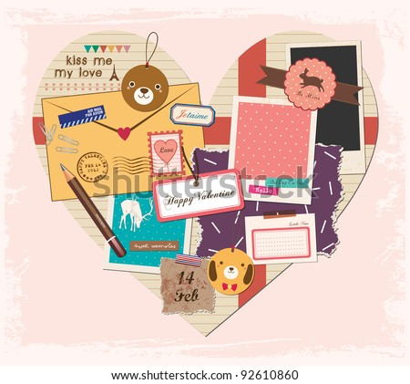 Scrapbook Elements in Love Shape Paper. Valentine's Day Design. - stock vector