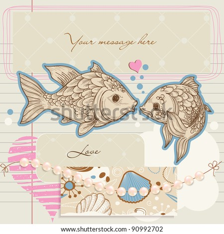 Scrapbook elements on love and sea theme - stock vector