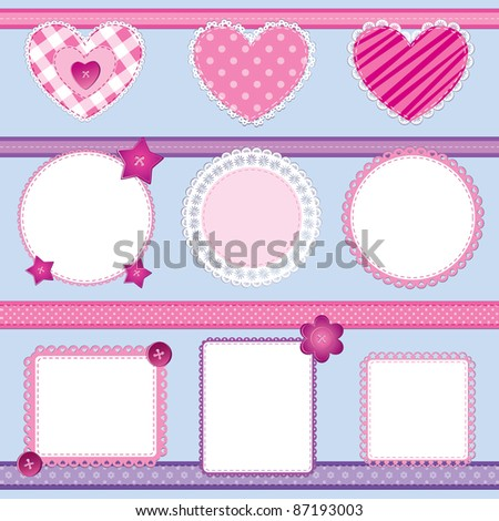 Scrapbook elements set in pink and lilac; perfect for baby girl, Valentine day and wedding themes - stock vector