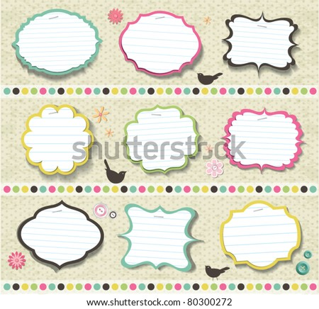 scrapbook elements. various shape of note papers - stock vector