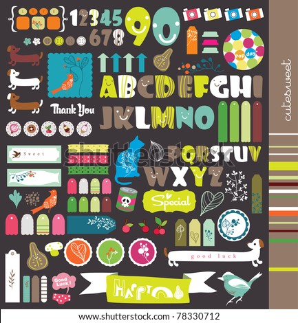 scrapbook elements with letters - stock vector